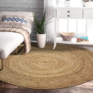 L and R Home Grey Natural Jute Round Indoor Area Rug (8' x 8') - 8' x 8'