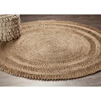 LR Home Hand Braided  Natural Jute Dandelion Daydream Gray Jute Rug - 6' x 6'
