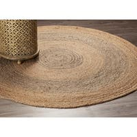 LR Home Grey Natural Jute Two Toned Indoor Area Rug ( 6' Round ) - 6' x 6'