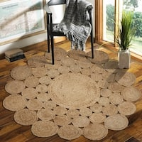 LR Home Natural Jute Reversible Orbital Indoor Area Rug ( 8' Round ) - 8' x 8'