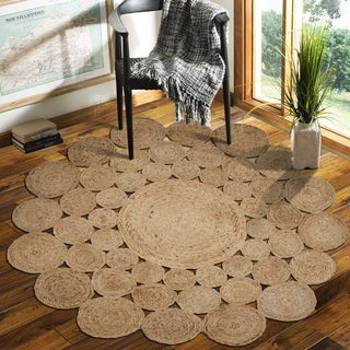 LR Home Natural Jute Reversible Orbital Indoor Area Rug ( 8' Round ) - 8' x 8'