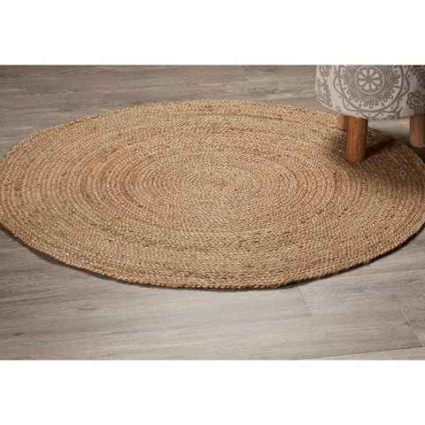LR Home Natural Jute Classic Braided Indoor Area Rug ( 8' Round ) - 8' Round - 8' Round