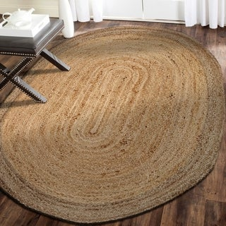 L and R Home Natural Grey Natural Jute Indoor Oval Area Rug (7'x9') - 7'9 x 7'9