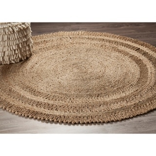 L and R Home Natural Grey Jute Round Indoor Area Rug (4' x 4')