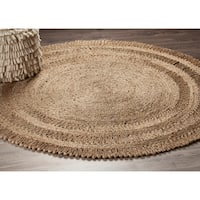 LR Home Hand Braided  Natural Jute Dandelion Daydream Gray Jute Rug - 4' x 4'