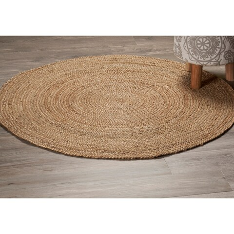 LR Home Natural Jute Classic Braided Indoor Area Rug ( 4' Round ) - 4' x 4'