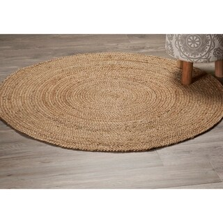 LR Home Natural Jute Classic Braided Indoor Area Rug - 4' x 4'