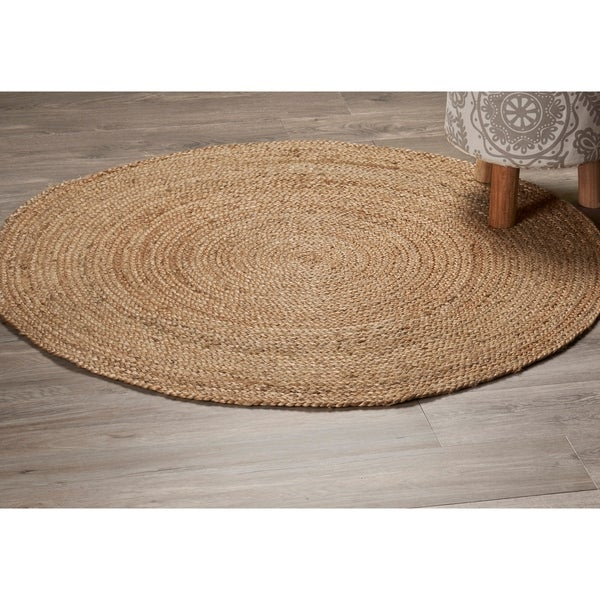 LR Home Natural Jute Classic Braided Indoor Area Rug ( 3' Round ) - 3' x 3'