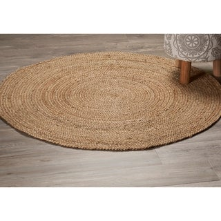 L and R Home Natural Jute Round Indoor Area Rug (3' x 3') - 3' x 3'
