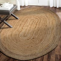 LR Home Hand Braided  Natural Jute Rotunda Natural/ Gray Jute Rug - 5'7 x 5'7