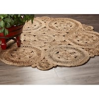 LR Home Hand Braided  Natural Jute Floral Fantasy Natural Jute Rug - 4' x 4'