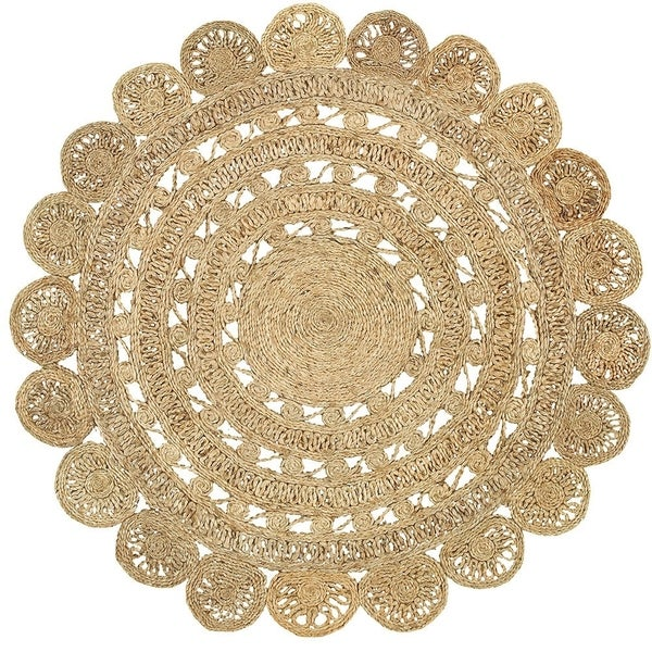 L and R Home Natural Jute Round Indoor Area Rug (4' x 4')