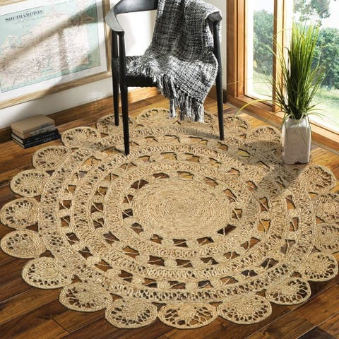 LR Home Hand Braided Natural Jute Rococo Natural Jute Rug - 4' Round