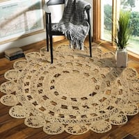 LR Home Hand Braided  Natural Jute Rococo Natural Jute Rug - 4' x 4'
