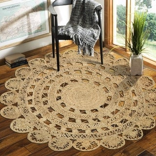 LR Home Natural Jute Rococo Indoor Area Rug - 4' x 4'