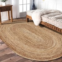 LR Home Hand Braided  Natural Jute Braided Oval Natural/ Gray Jute Rug - 5' x 7'