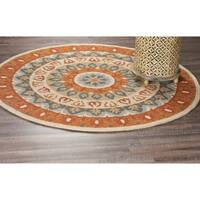 LR Home Hand Tufted Dazzle Bold Medallion Gray/ Rust Wool Rug - 6' x 6'