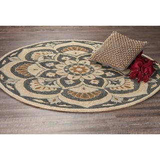 LR Home Hand Tufted Dazzle Floret Black Wool Rug - 6' Round
