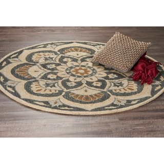 L and R Home Dazzle Black Wool Round Indoor Area Rug (6' x 6')