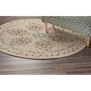 L and R Home Ivory Wool Round Indoor Area Rug (6' x 6')