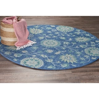 LR Home Dazzle Blue Wool Round Indoor Area Rug (4' x 4') - 4' x 4'