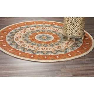L and R Home Dazzle Grey and Rust Wool Round Indoor Area Rug (4'x4')
