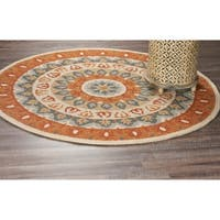 LR Home Hand Tufted Dazzle Bold Medallion Gray/ Rust Wool Rug - 4' x 4'
