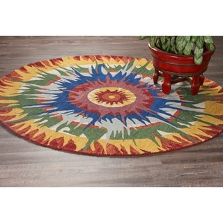 L and R Home Dazzle Multicolored Wool Round Bright Indoor Area Rug (4' x 4')