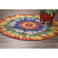 LR Home Hand Tufted Dazzle Hippie Medallion Bright Wool Rug - Multi-color - 4' x 4'