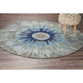 LR Home Dazzle Blue Wool Round Neutral Indoor Area Rug (4' x 4') - 4' x 4'