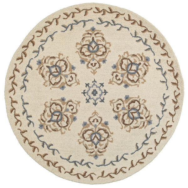 L and R Home Dazzle Ivory Wool Round Indoor Area Rug (4' x 4')