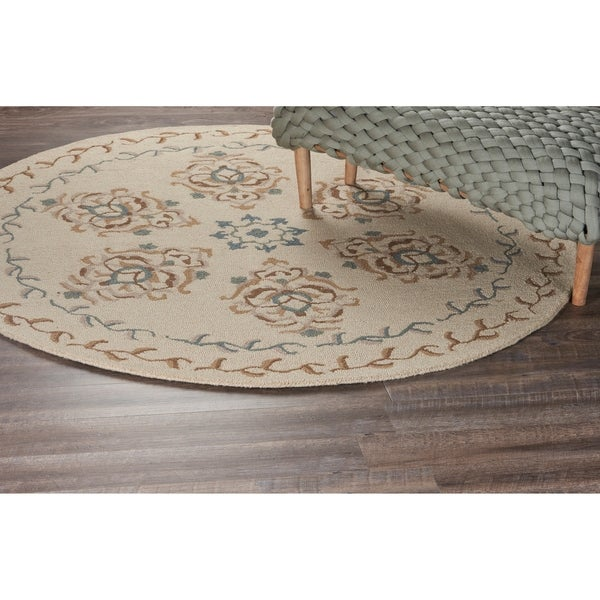 LR Home Dazzle Ivory Wool Round Indoor Area Rug (4' x 4') - 4' x 4'
