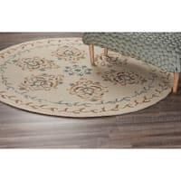 LR Home Dazzle Ivory Wool Round Indoor Area Rug (4' x 4') - 4' x 4'