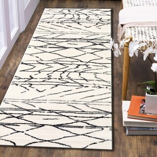 """L and R Home Matrix White, Grey, and Black Olefin Indoor Runner Rug ( 2'1 x 7'5) - 2' x 7'5"""""""