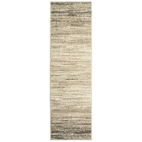 "LR Home Matrix Gobi Ombre Light Beige/ White Olefin Rug - 2'1"" x 7'5"" Runner"
