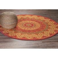 LR Home Dazzle Rust Wool Round Indoor Area Rug (4' x 4') - 4' x 4'
