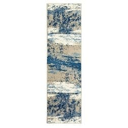 "LR Home Matrix Blue Skies Light Beige/ Soft Blue Olefin Rug - 2'1"" x 7'5"" Runner"