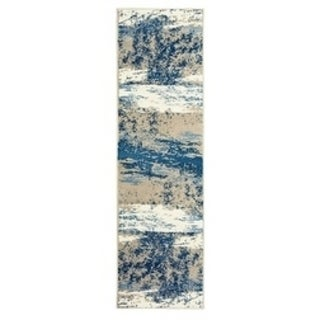 L and R Home Matrix Beige and Blue Olefin Indoor Runner Rug (2'1 x 7'5)