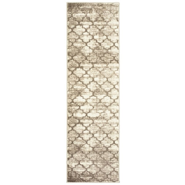 "LR Home Matrix Beige Trellis Area Rug ( 2'1"" x 7'5"" ) - 2'2 x 7'6"