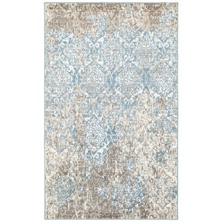 L and R Home Matrix Beige and Blue Olefin Indoor Runner Rug (2'1 x 7'5) - 2' x 7'5""
