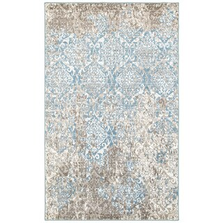 """L and R Home Matrix Beige and Blue Olefin Indoor Runner Rug (2'1 x 7'5) - 2' x 7'5"""""""