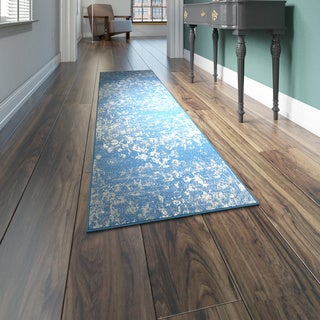 L and R Home Matrix Blue and Beige Olefin Indoor Runner Rug (2'1 x 7'5) - 2' x 7'5""