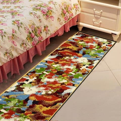 "LR Home Matrix Impressionist Terra/ Gold Olefin Rug - 2'1"" x 7'5"" Runner"