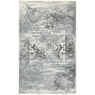 """L and R Home Matrix Gardenia/Silver Blue Indoor Runner Rug (2' x 7'5"""")"""