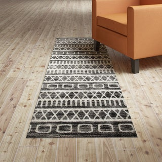L and R Home Matrix Titanium and Gardenia Olefin Indoor Runner Rug ( 2'1 x 7'5) - 2' x 7'5""