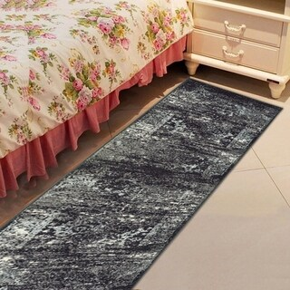 L and R Home Matrix Jet Black and Titanium Olefin Indoor Runner Rug (2'1x7'5) - 2'1 x 7'5