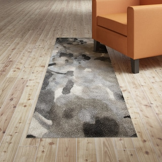 L and R Home Matrix White/Black/Silvertone Olefin Runner Rug (2'1 x 7'5) - 2' x 7'5""