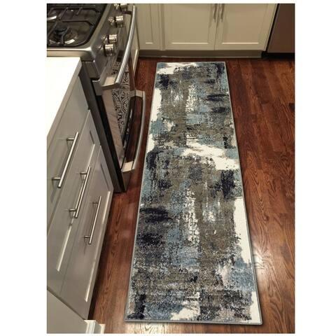 "LR Home Matrix Modern Fade Walnut/ Silver Blue Olefin Rug - 2'1"" x 7'5"""