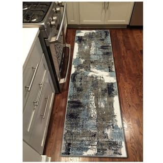"""L and R Home Matrix Walnut and Silver Blue Olefin Indoor Runner Rug (2' x 7'5"""")