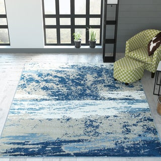 L and R Home Matrix Beige and Blue Olefin Indoor Area Rug ( 7'9 x 9'5)